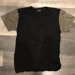 ZARA black t-shirt with gold detail shoulders